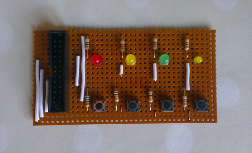 DIY Raspberry Pi GPIO LEDs and Switches board