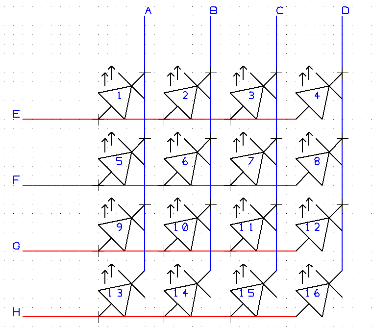 Mulitplexed LEDs arranged in columns labelled A-D and rows labelled E-H