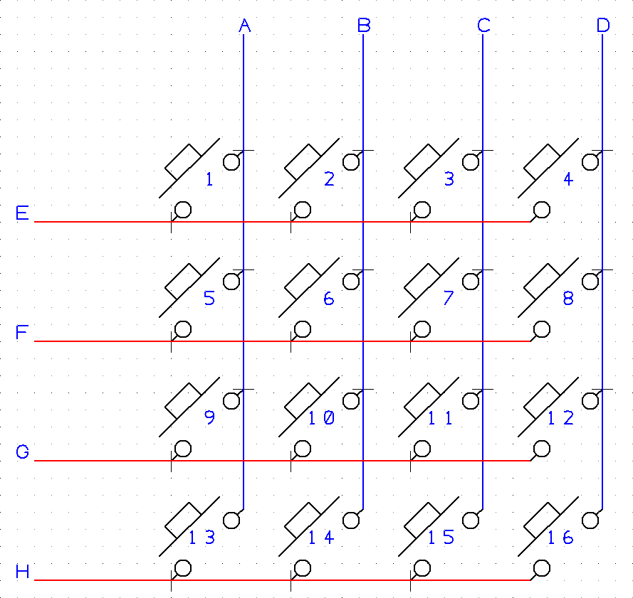 Mulitplexed switches arranged in columns labelled A-D and rows labelled E-H