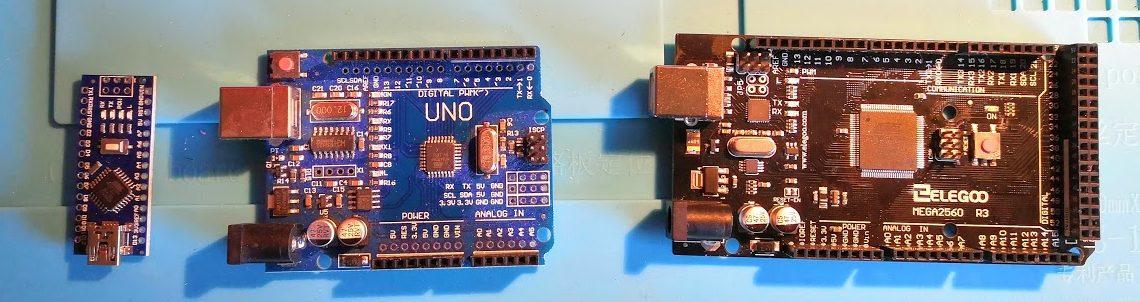 Arduino models: Nano, Uno and Mega